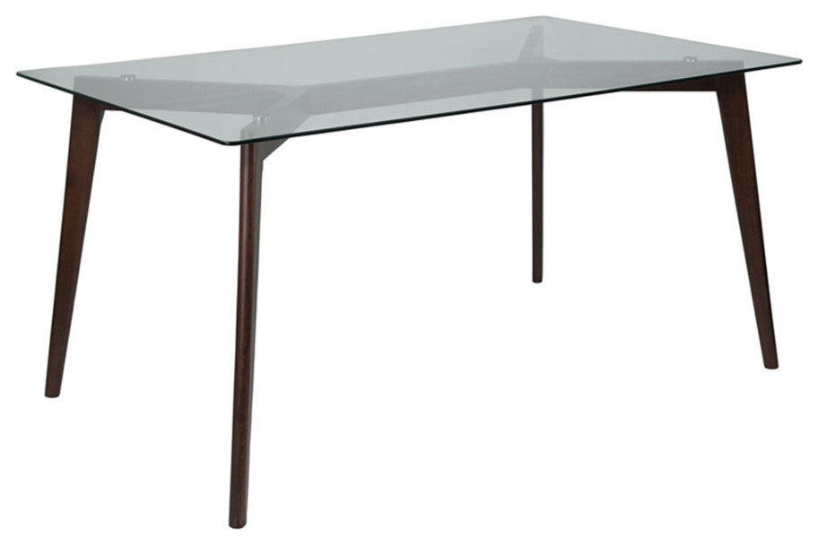 "Flash Furniture Parkside 35.25"" x 59"" Rectangular Solid Espresso Wood Table with Clear Glass Top - Pot Racks Plus"