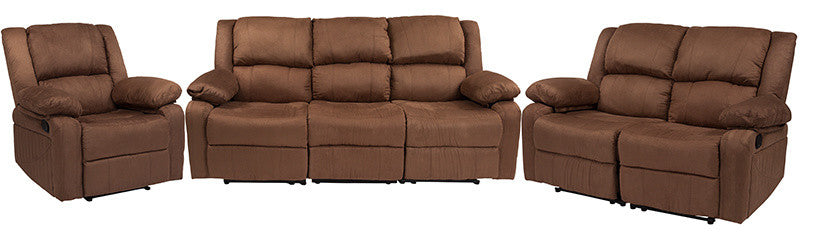 Flash Furniture   Harmony Series Chocolate Brown Microfiber Reclining Sofa Set - Pot Racks Plus