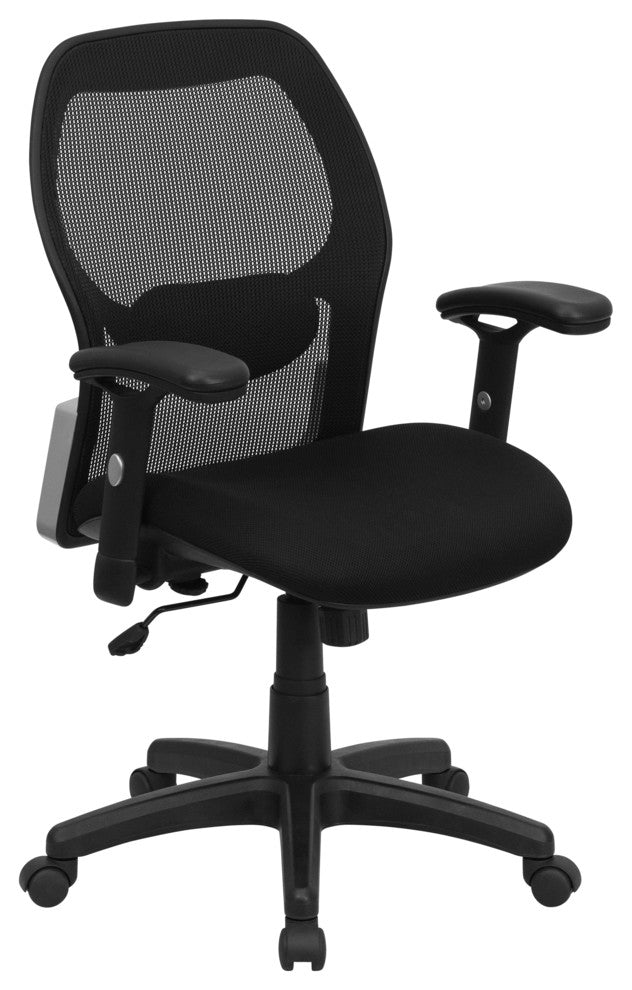 Mid-Back Black Super Mesh Executive Swivel Office Chair with Adjustable Lumbar & Arms