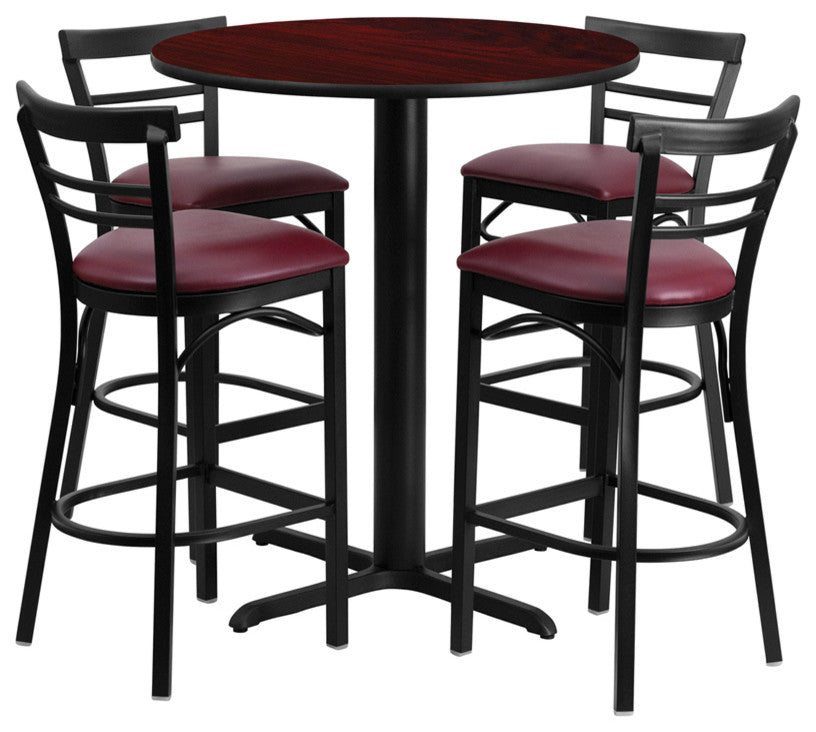 24'' Round Mahogany Laminate Table Set with X-Base and 4 Two-Slat Ladder Back Metal Barstools - Burgundy Vinyl Seat