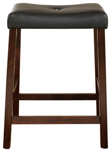 "Upholstered Saddle Seat Barstool Set of 2, Mahogany, 24"" - Pot Racks Plus"