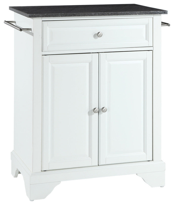 LaFayette Solid Black Granite Top Portable Kitchen Island, White Finish - Pot Racks Plus