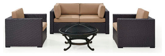 Biscayne Wicker Set 2 Armchairs, 2 Corner Chair, Ashland Firepit, Mocha - Pot Racks Plus