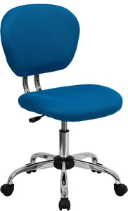 Mid-Back Turquoise Mesh Padded Swivel Task Office Chair with Chrome Base