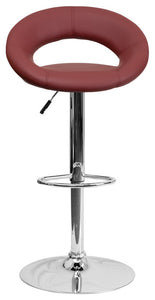 Contemporary Burgundy Vinyl Rounded Orbit-Style Back Adjustable Height Barstool with Chrome Base