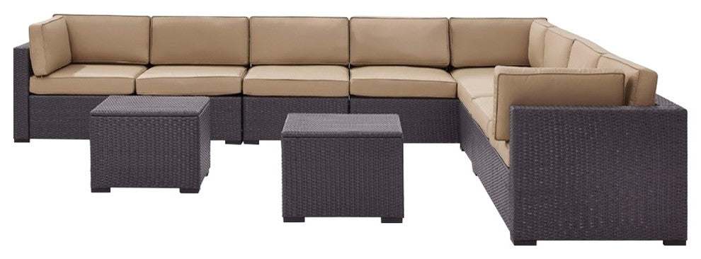 Biscayne Wicker Patio 3 Loveseats, 2 Armless Chairs, 2 Coffee Tables, Mocha - Pot Racks Plus