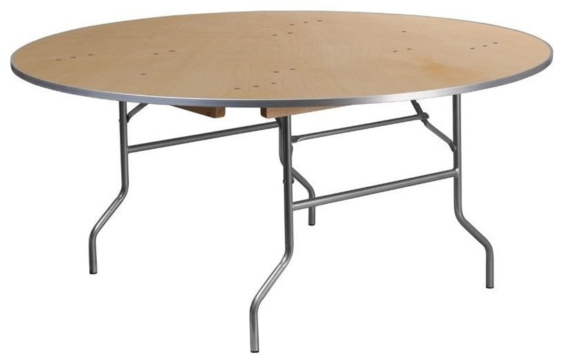5.5-Foot Round HEAVY DUTY Birchwood Folding Banquet Table with METAL Edges