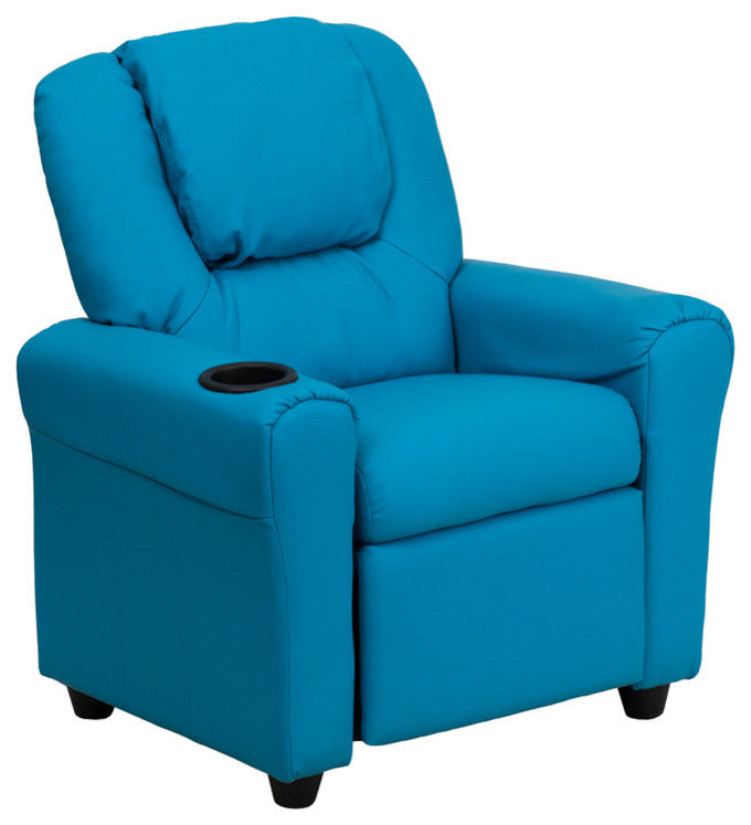 Flash Furniture   Contemporary Turquoise Vinyl Kids Recliner with Cup Holder and Headrest - Pot Racks Plus