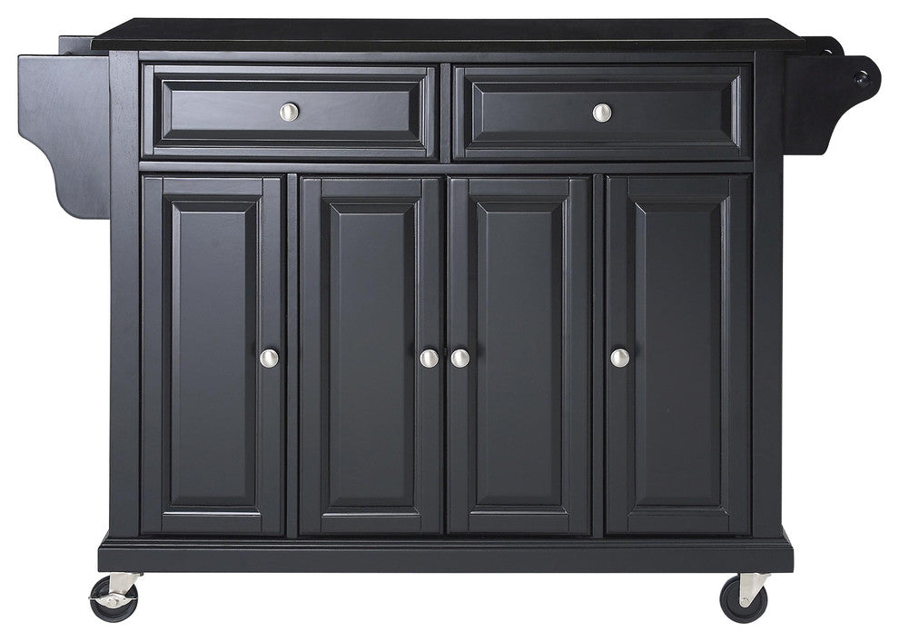 Solid Black Granite Top Kitchen Cart, Island, Black Finish - Pot Racks Plus