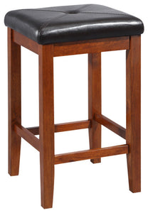 "Upholstered Square Bar Stool, Classic Cherry Finish With 24"", Set of 2 - Pot Racks Plus"
