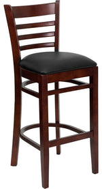 HERCULES Series Ladder Back Mahogany Wood Restaurant Barstool - Black Vinyl Seat