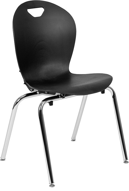 Advantage Titan Black Student Stack School Chair - 18-inch