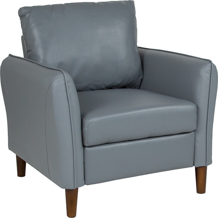 Milton Park Upholstered Plush Pillow Back Arm Chair in Gray LeatherSoft
