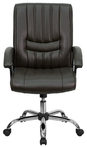 Mid-Back Espresso Brown LeatherSoft Swivel Manager's Office Chair with Arms