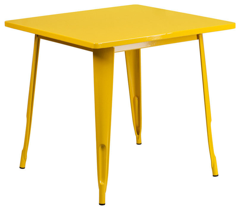 "Commercial Grade 31.5"" Square Yellow Metal Indoor-Outdoor Table"