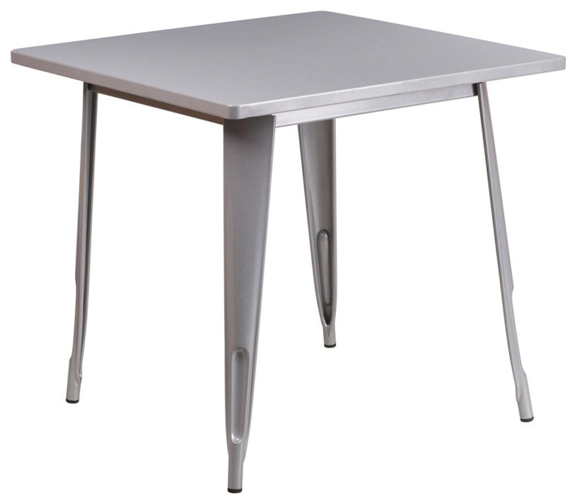 "Commercial Grade 31.5"" Square Silver Metal Indoor-Outdoor Table"