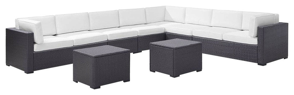 Biscayne Wicker Patio 3 Loveseats, 2 Armless Chairs, 2 Coffee Tables, White - Pot Racks Plus
