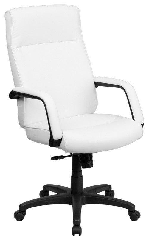 High Back White LeatherSoft Executive Swivel Ergonomic Office Chair with Memory Foam Padding and Arms