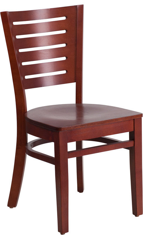 Darby Series Slat Back Mahogany Wood Restaurant Chair