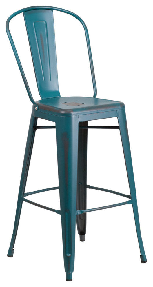 "Commercial Grade 30"" High Distressed Kelly Blue-Teal Metal Indoor-Outdoor Barstool with Back"