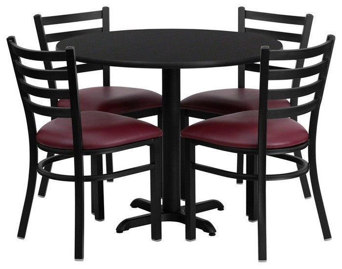 36'' Round Black Laminate Table Set with X-Base and 4 Ladder Back Metal Chairs - Burgundy Vinyl Seat