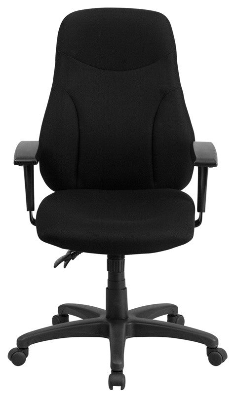 High Back Black Fabric Multifunction Swivel Ergonomic Task Office Chair with Adjustable Arms