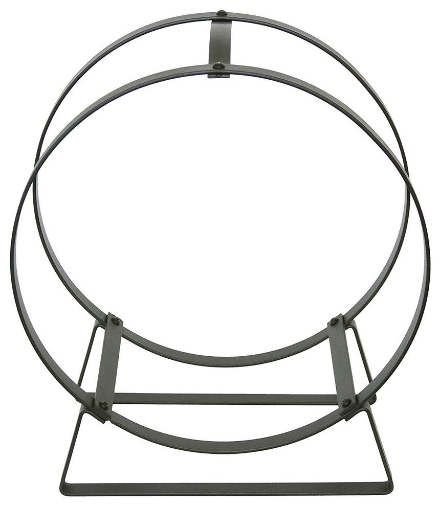 Hoop Fireplace Log Rack w/ Handle Hammered Steel - Pot Racks Plus