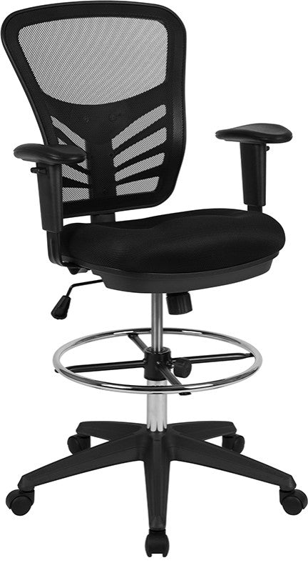 Mid-Back Black Mesh Ergonomic Drafting Chair with Adjustable Chrome Foot Ring, Adjustable Arms and Black Frame