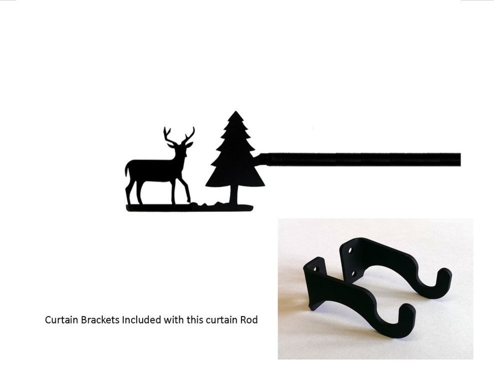 Deer/Pine Curtain Rod, Small - Pot Racks Plus