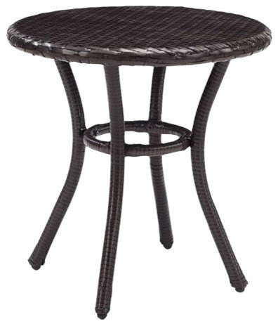 Palm Harbor Outdoor Wicker Round Side Table, Brown - Pot Racks Plus