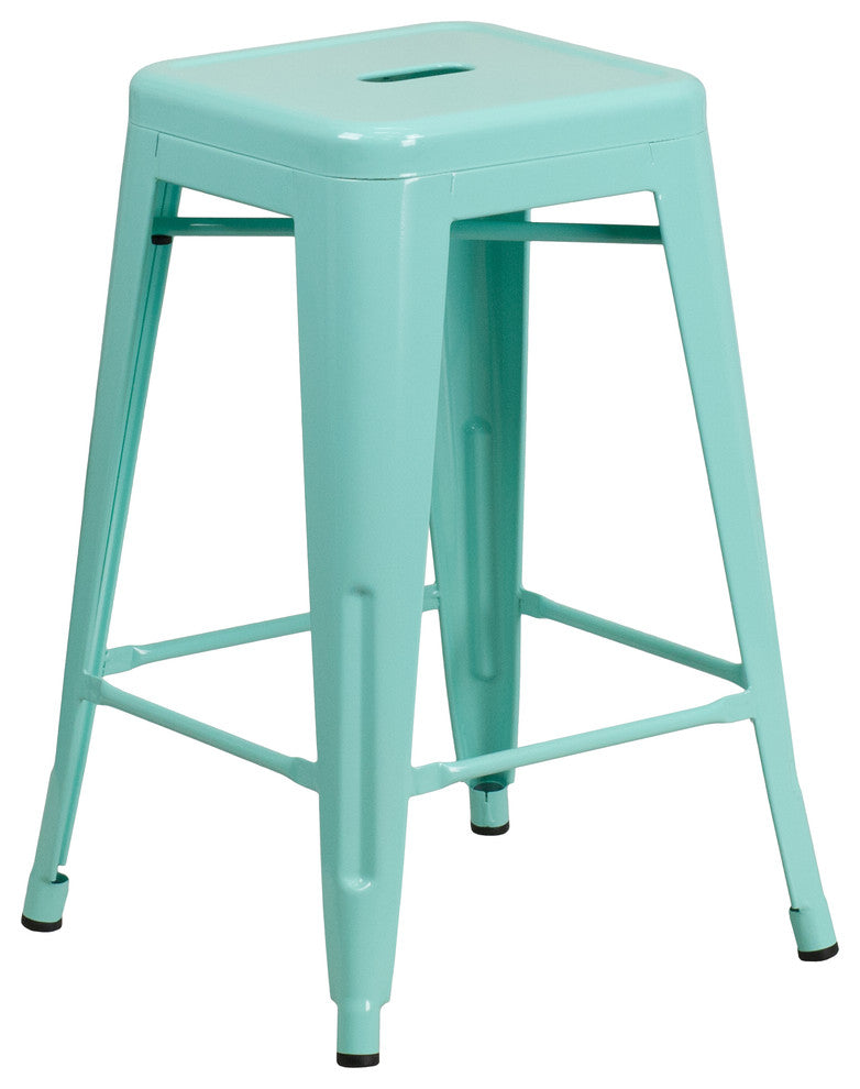 "Commercial Grade 24"" High Backless Mint Green Indoor-Outdoor Counter Height Stool"
