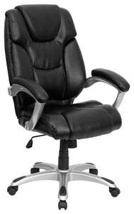 High Back Black LeatherSoft Layered Upholstered Executive Swivel Ergonomic Office Chair with Silver Nylon Base and Arms