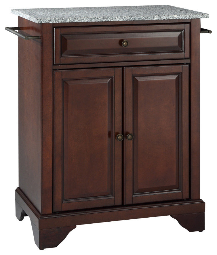 LaFayette Solid Granite Top Portable Kitchen Island, Vintage Mahogany Finish - Pot Racks Plus