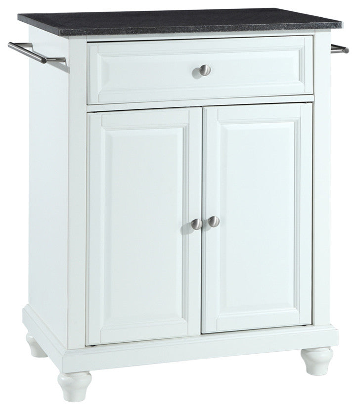 Cambridge Solid Black Granite Top Portable Kitchen Island, White Finish - Pot Racks Plus