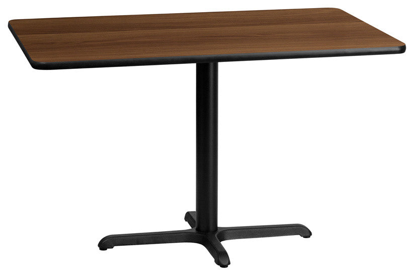 30'' x 48'' Rectangular Walnut Laminate Table Top with 23.5'' x 29.5'' Table Height Base