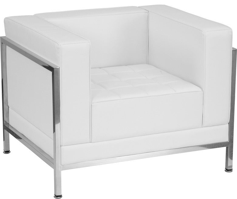 HERCULES Imagination Series Contemporary Melrose White LeatherSoft Chair with Encasing Frame
