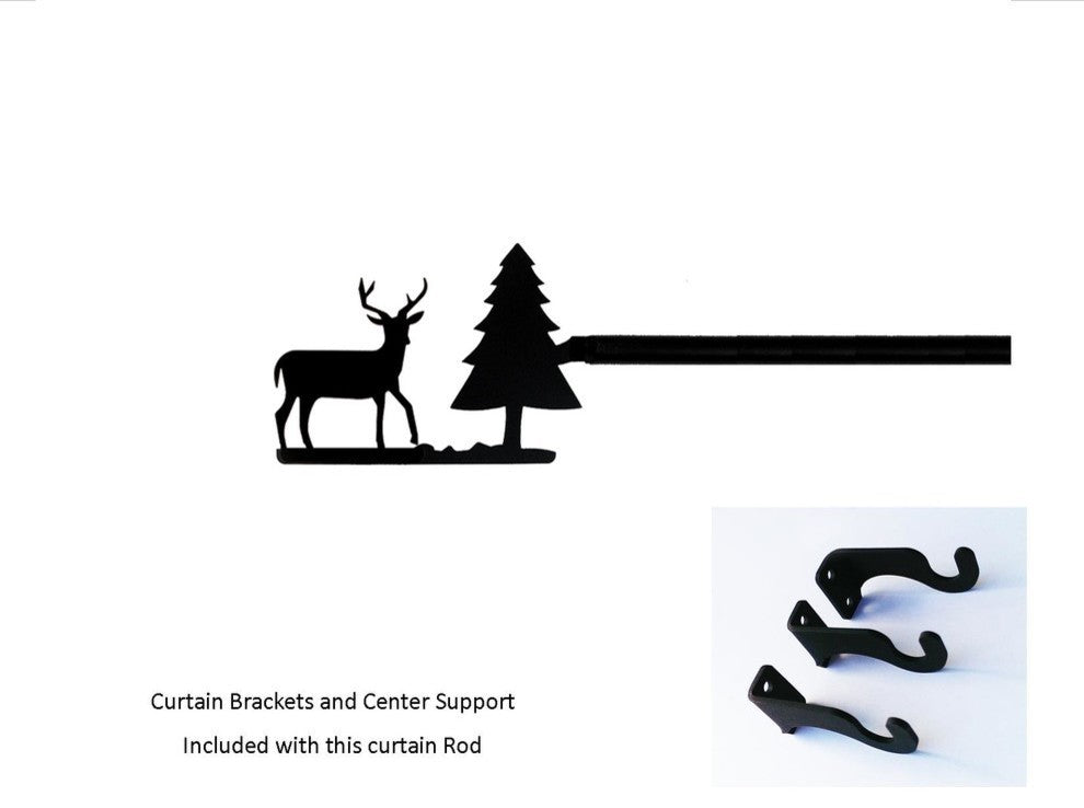 Deer/Pine Curtain Rod, Extra Large - Pot Racks Plus