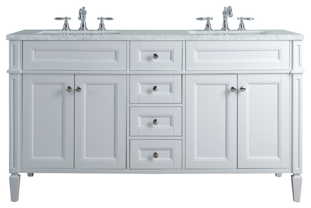 "Anastasia French 60"" White Double Sink Bathroom Vanity - Pot Racks Plus"