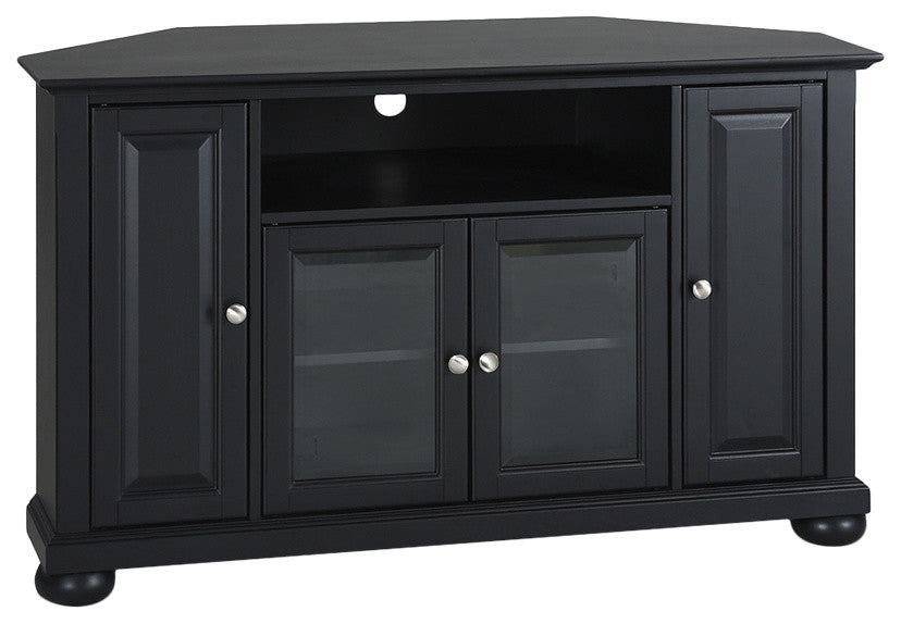 "Alexandria 48"" Corner TV Stand, Black Finish - Pot Racks Plus"