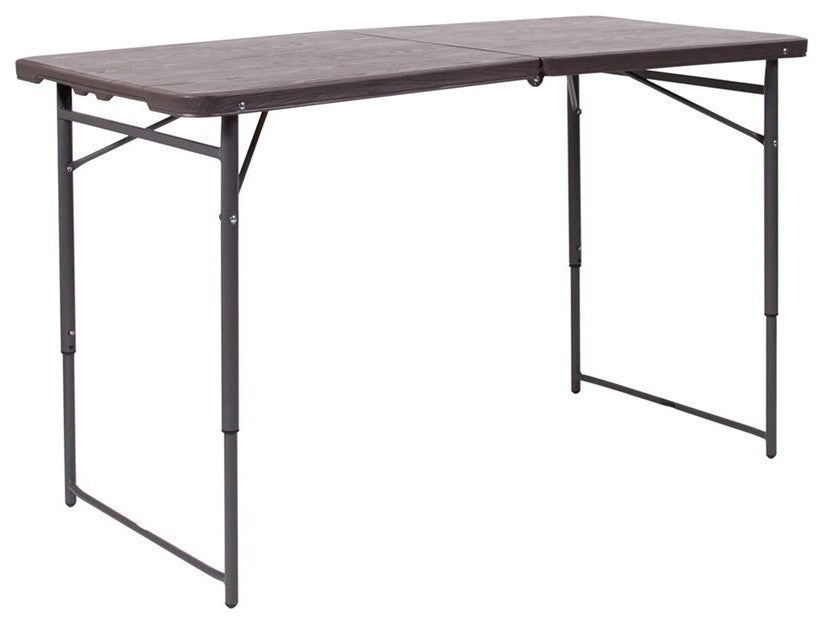 4-Foot Height Adjustable Bi-Fold Brown Wood Grain Plastic Folding Table with Carrying Handle