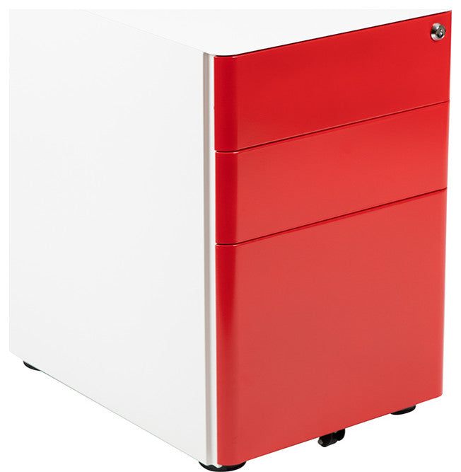 Modern 3-Drawer Mobile Locking Filing Cabinet with Anti-Tilt Mechanism & Letter/Legal Drawer, White with Red Faceplate