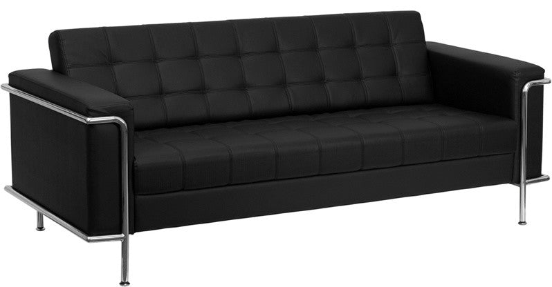 HERCULES Lesley Series Contemporary Black LeatherSoft Sofa with Encasing Frame