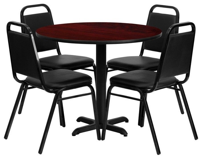 36'' Round Mahogany Laminate Table Set with X-Base and 4 Black Trapezoidal Back Banquet Chairs
