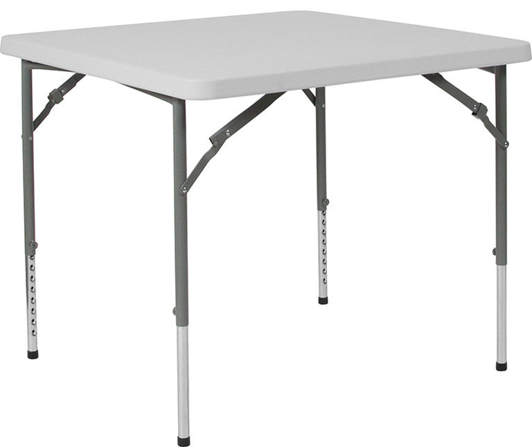 3-Foot Square Height Adjustable Granite White Plastic Folding Table