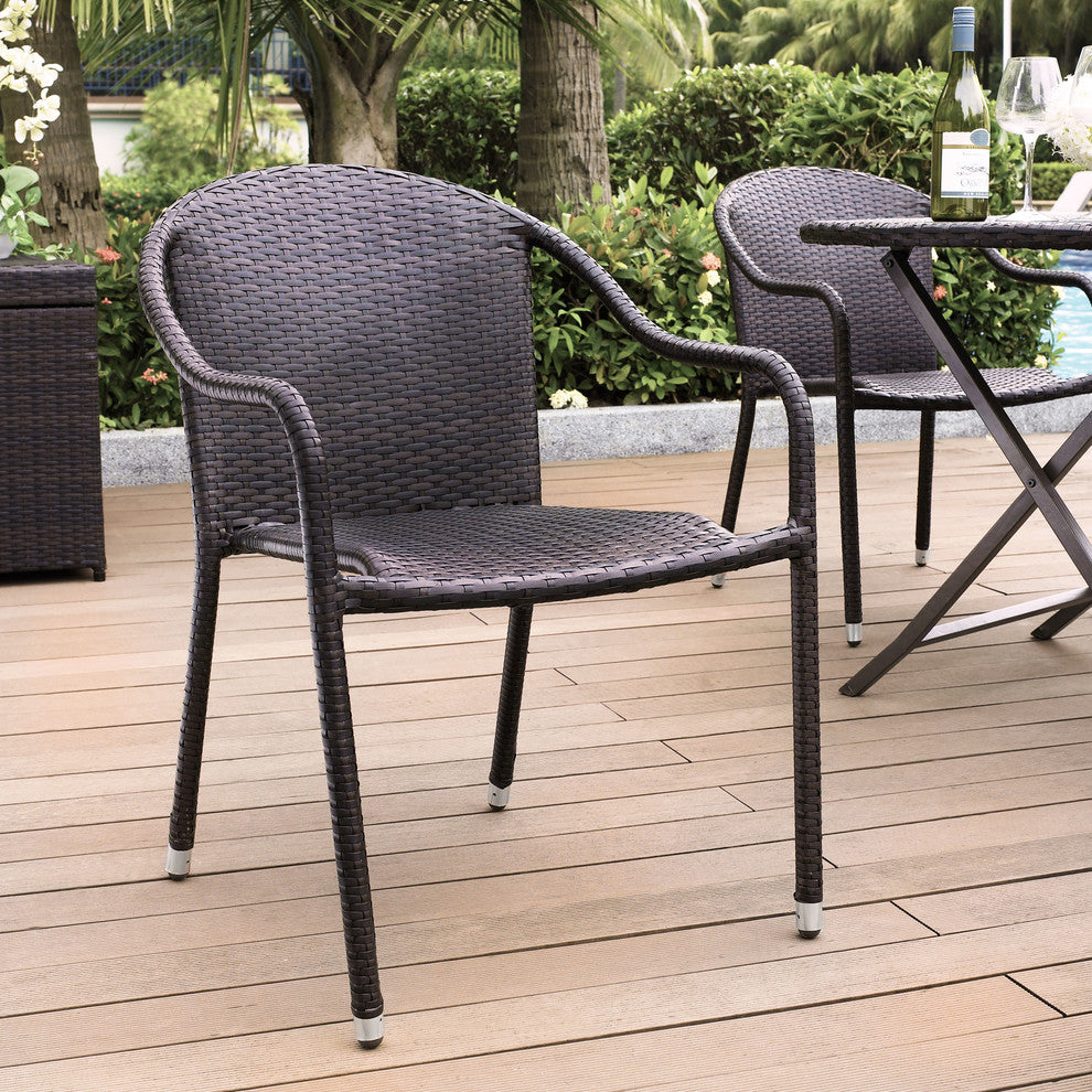 Palm Harbor Outdoor Wicker Stackable Chairs, Set of 4 Brown - Pot Racks Plus