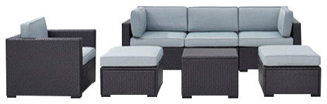 Biscayne 7 Person Wicker 1 Loveseat, 3 Chairs, 1 Coffee Table, 2 Ottomans, Mist - Pot Racks Plus