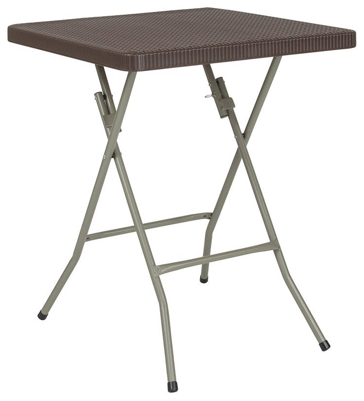 2-Foot Square Brown Rattan Plastic Folding Table