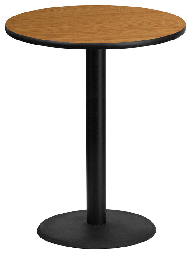 36'' Round Natural Laminate Table Top with 24'' Round Bar Height Table Base
