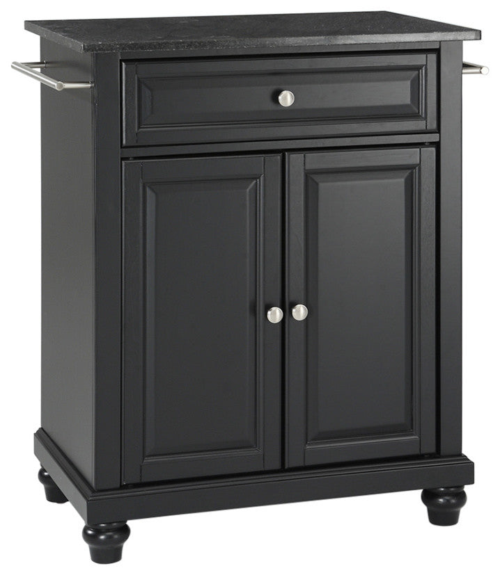 Cambridge Solid Black Granite Top Portable Kitchen Island, Black Finish - Pot Racks Plus