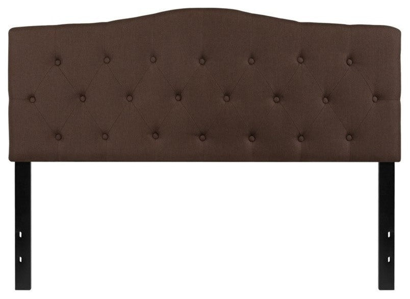 Cambridge Tufted Upholstered Queen Size Headboard in Dark Brown Fabric